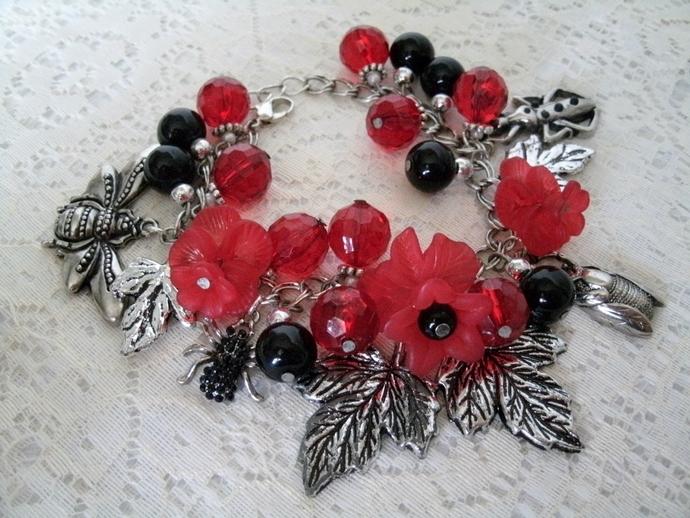 Gothic Bug Bracelet, gothic jewelry steampunk victorian bug jewelry rockabilly