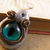 Blue, silver, and copper steampunk cats eye pendant