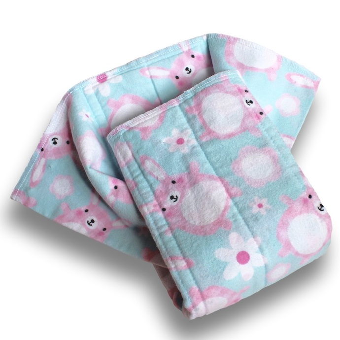 Medium Prefold Cotton Flannel Baby Diapers. Reusable Cloth Nappy. Burp Cloths.