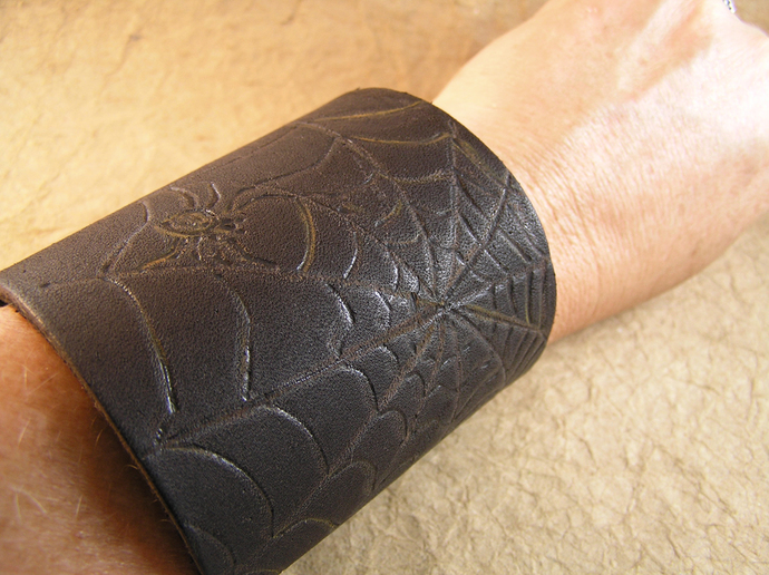 Wood burned leather cuff spider bracelet. Arachnid Halloween jewelry