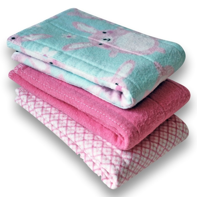 Newborn Prefold Cloth Baby Diapers. Reusable Cotton Flannel Nappies. Burp