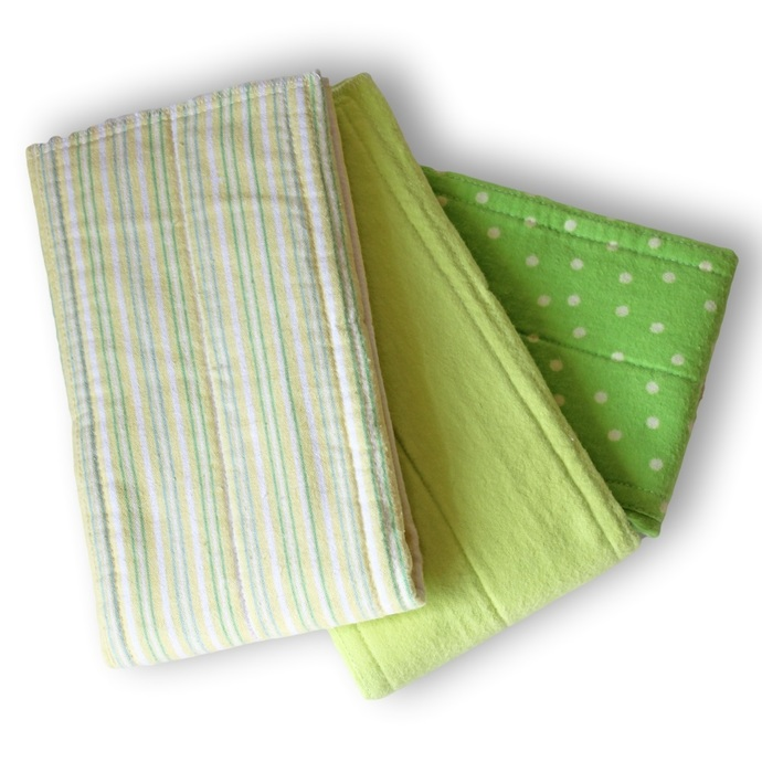 Prefold Cloth Diapers With Zorb. Large Reusable Cotton Flannel Baby Nappies.