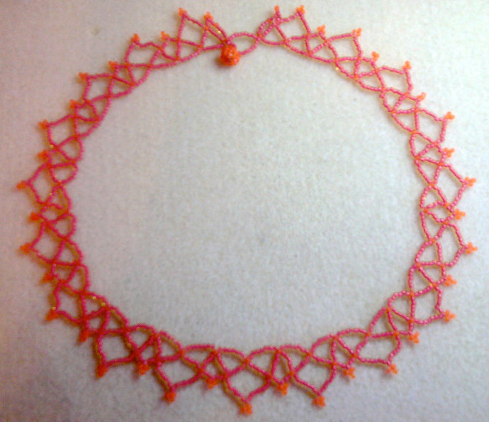 Netted Fuschia/Orange Hand Beadwoven Necklace - 17""
