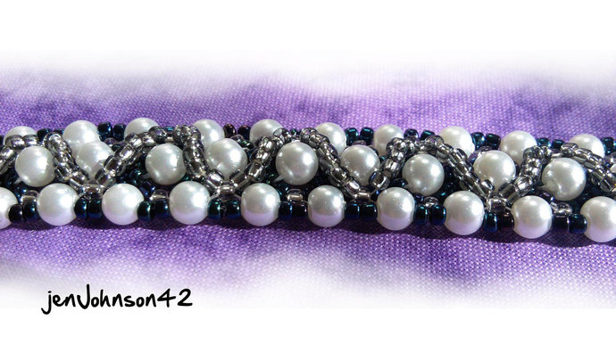 Navy and Silver Diamond Weave Beadwoven Bracelet