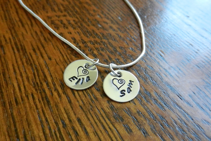"Custom - 1/2"" Sterling Silver Heart Pendant - Hand Stamped"