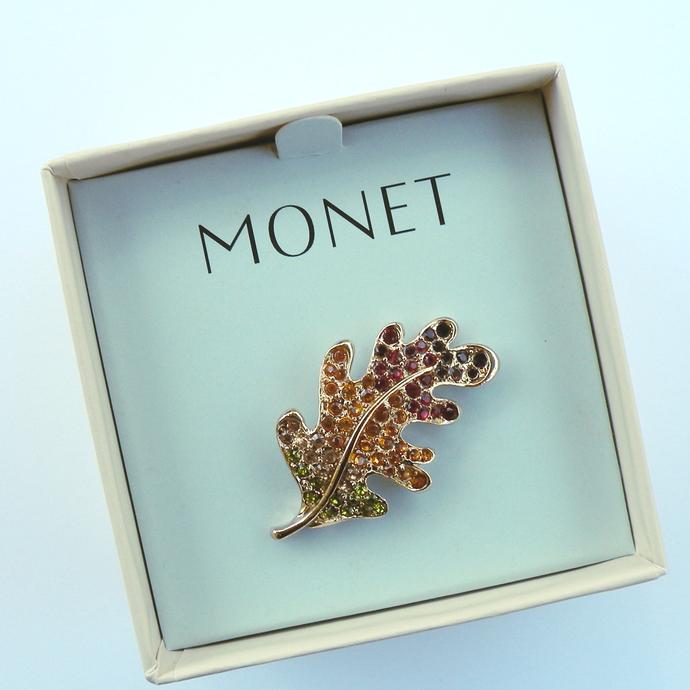Vintage Jewelry - Autumn Leaf Monet Pin