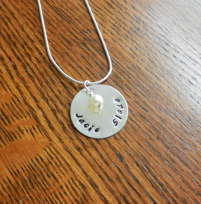 "CUSTOM- 1"" Sterling Silver Hand Stamped Circle Pendant w/ Pearl Charm"