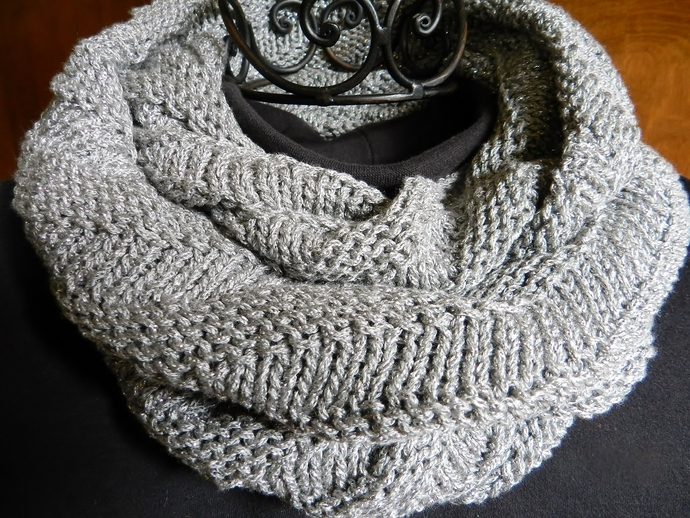 Gray and Silver Knit Infinity Scarf
