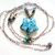 Blue Glass Star Necklace with Beaded Heart-link Chain