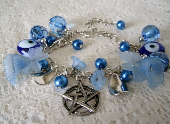 Evil Eye Protection Pentacle Bracelet, wiccan pagan jewelry wicca witch