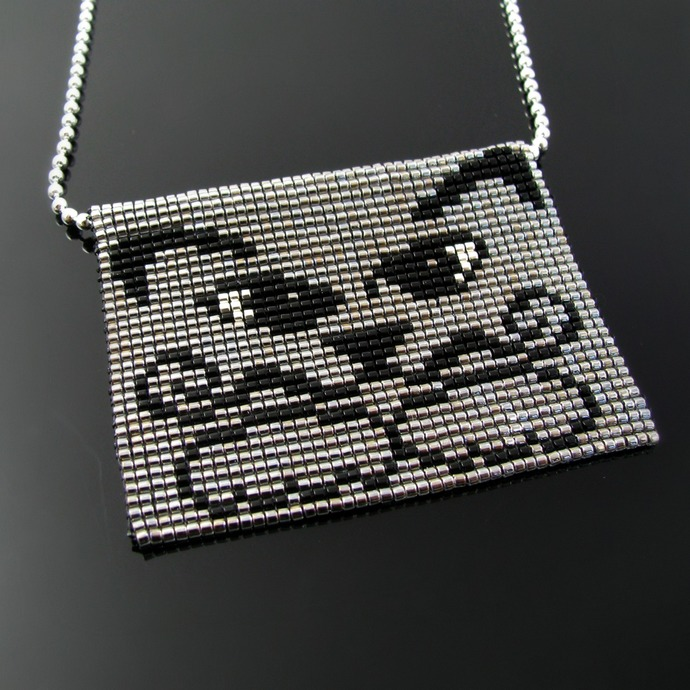 Bead loomed pendant mustached cat Dalicat - A HeatherCat