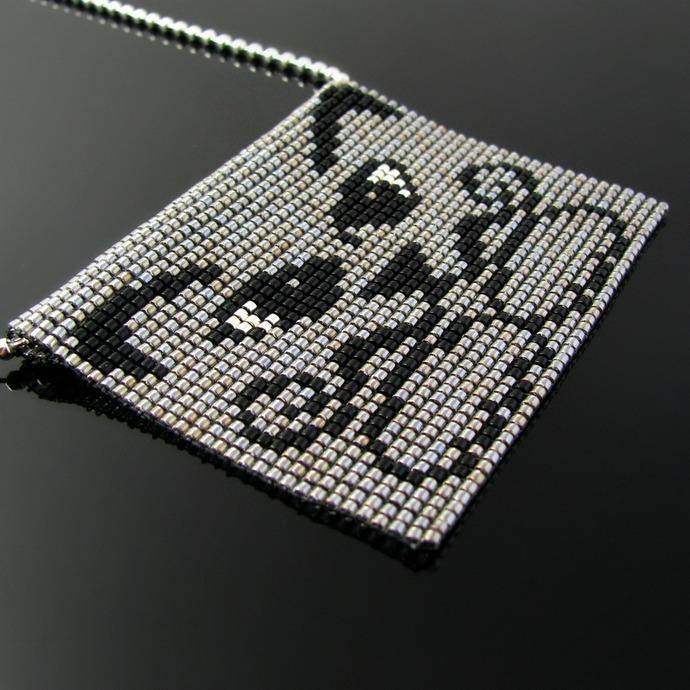 Bead loomed pendant mustached cat Dalicat - A HeatherCat