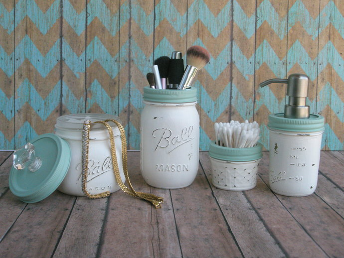 Mason Jar Bathroom Accessories | Distressed Mason Jar Bathroom Set By Mason Jar Lamps And More On