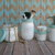 Distressed Mason Jar Bathroom set w/ Stainless Pump in Sea Glass and Warm White