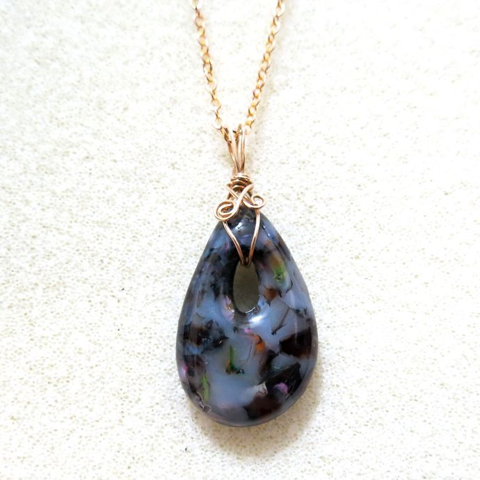 Small Grey & Black Glass Teardrop Pendant with Wire-wrapped Bail