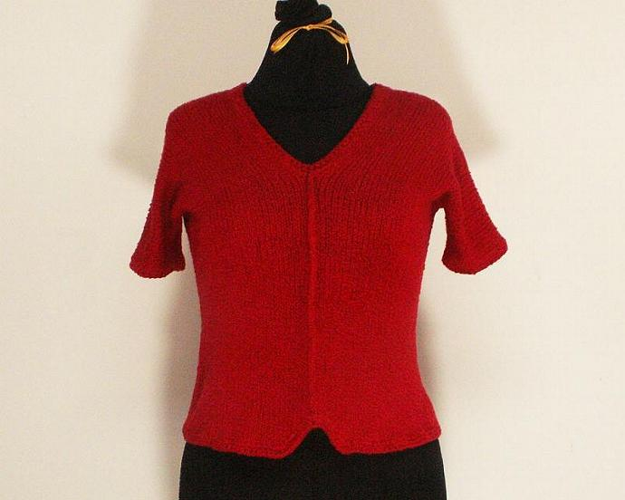 V Neck Cotton Sweater, Valentine Red, Size Medium