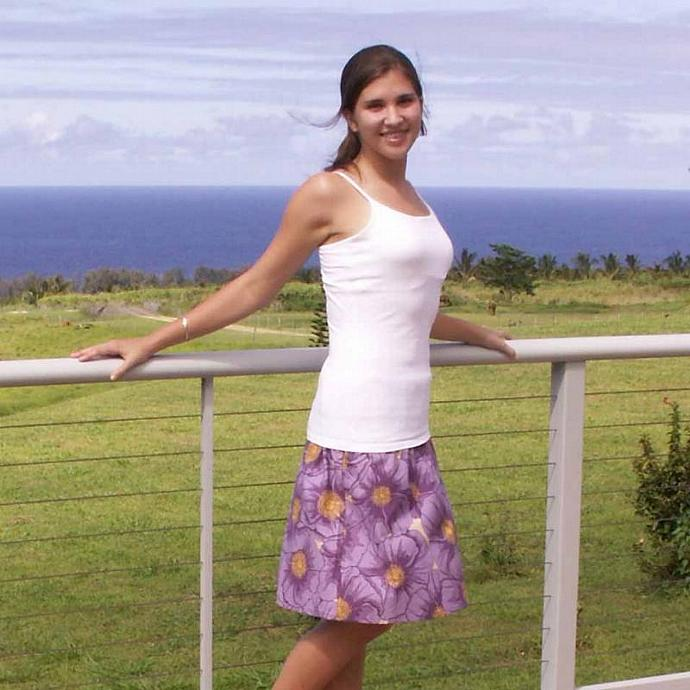 A Line Skirt  in Cotton Purple Poppy Print, Size  X Small