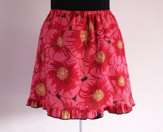 Ruffle Skirt  in Red Poppy Cotton Print, Size X Small
