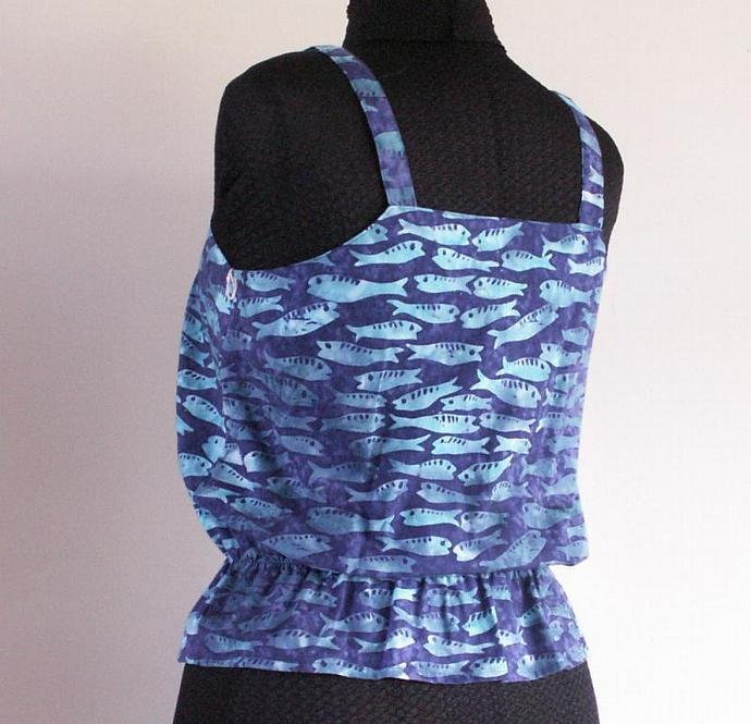 Cotton Camisole Batik with Little Fish, Size 10