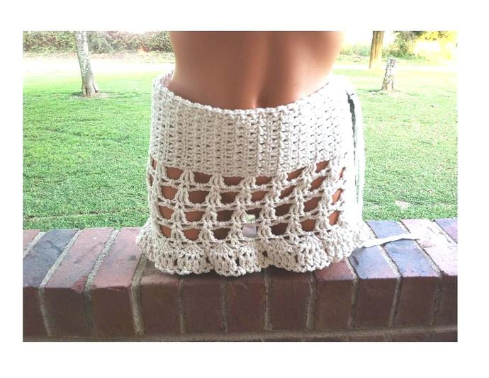 Bikini cover up, sarong skirt, crochet mini skirt by Vikni