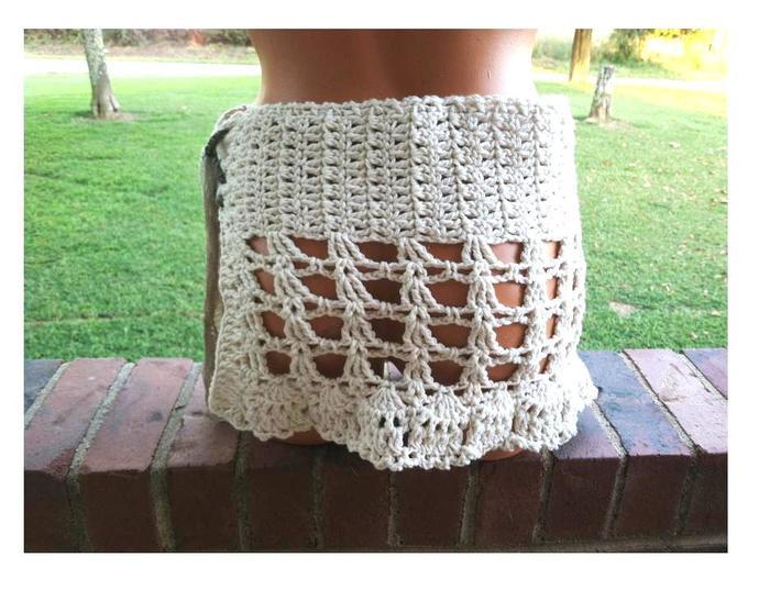 Bikini cover up, sarong skirt, crochet mini skirt by Vikni
