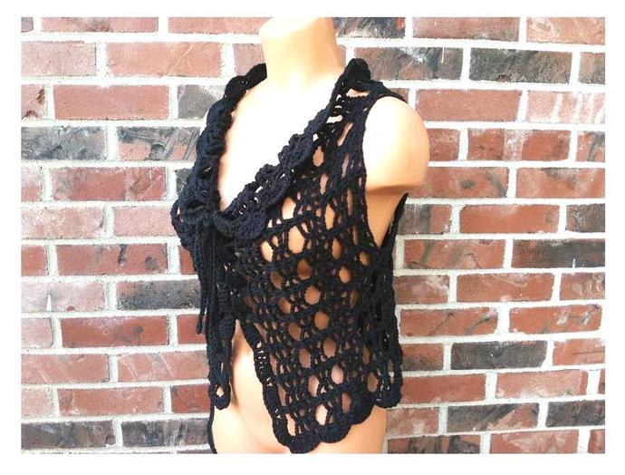 Crochet vest, women vest, gypsy hippie cover up by Vikni
