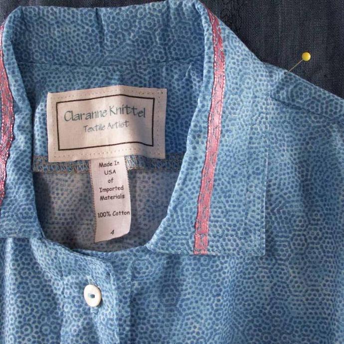 Blue Pointillist Print Button Front Blouse, Size 4