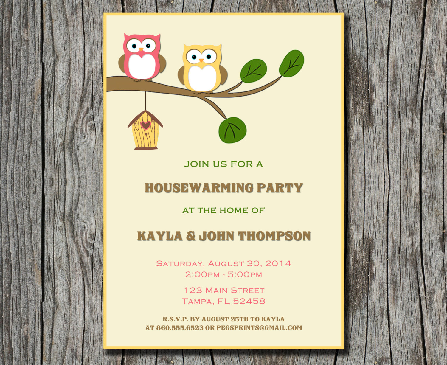Owl Housewarming Party Invitation (Printable) by PegsPrints on Zibbet