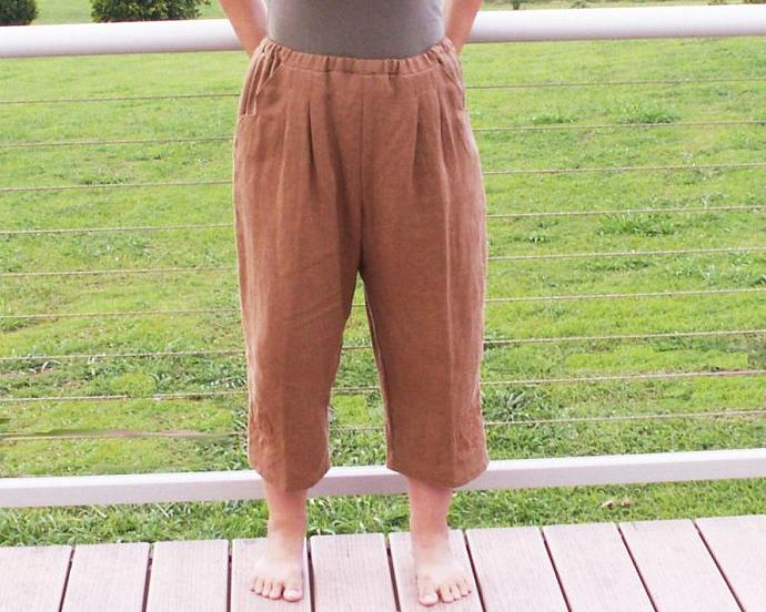 Linen Beach Walker Pants - Brown - Size Medium
