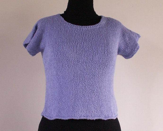 Cotton Short Sleeve Sweater , Size Medium, Lilac  Boucle