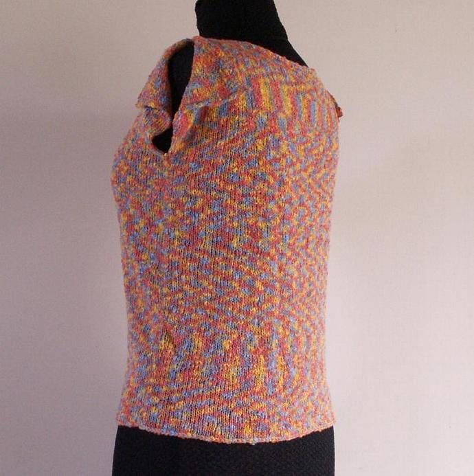 Cotton Blend Sweater in Space Dyed Boucle, Size Large