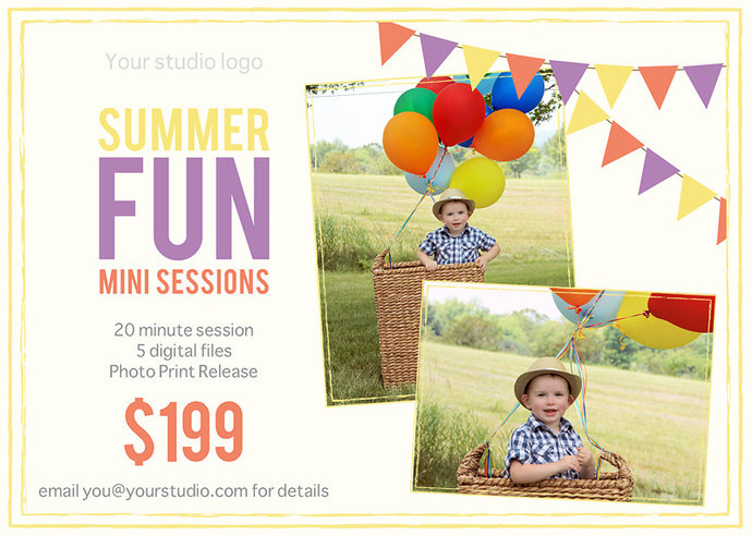 Summer Mini Session, Mini Session Template, Summer Flyer, Mini Session, Flyer