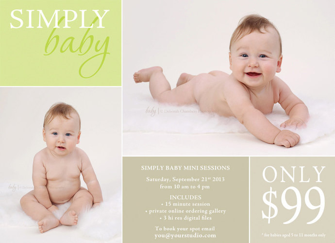 Baby Mini Session, Mini Session Template, Baby Template, Baby Flyer, Flyer