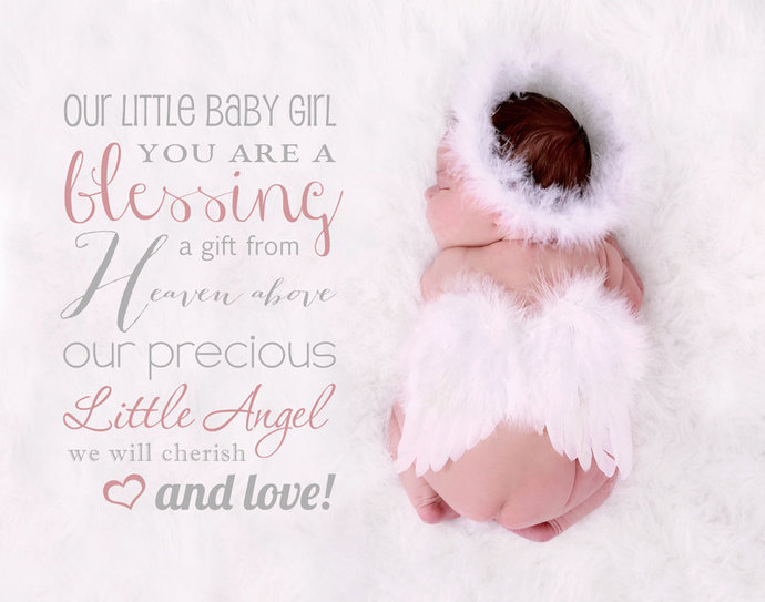 Word Overlay, Our little baby girl you are a blessing a gift from Heaven above,
