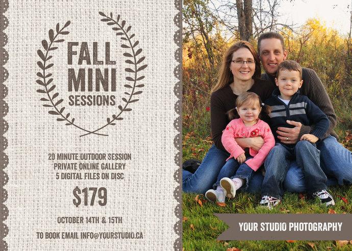 Mini Session, Fall Mini Session, Fall Template, Fall Flyer, Mini Session