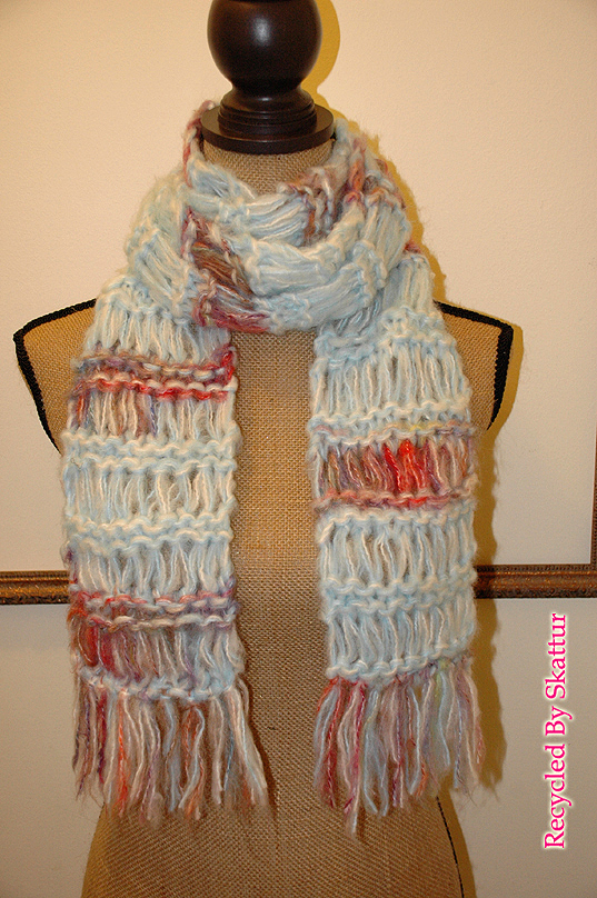 Light Blue and White Long Hand Knit Scarf / Handmade Accessories Scarf Knit