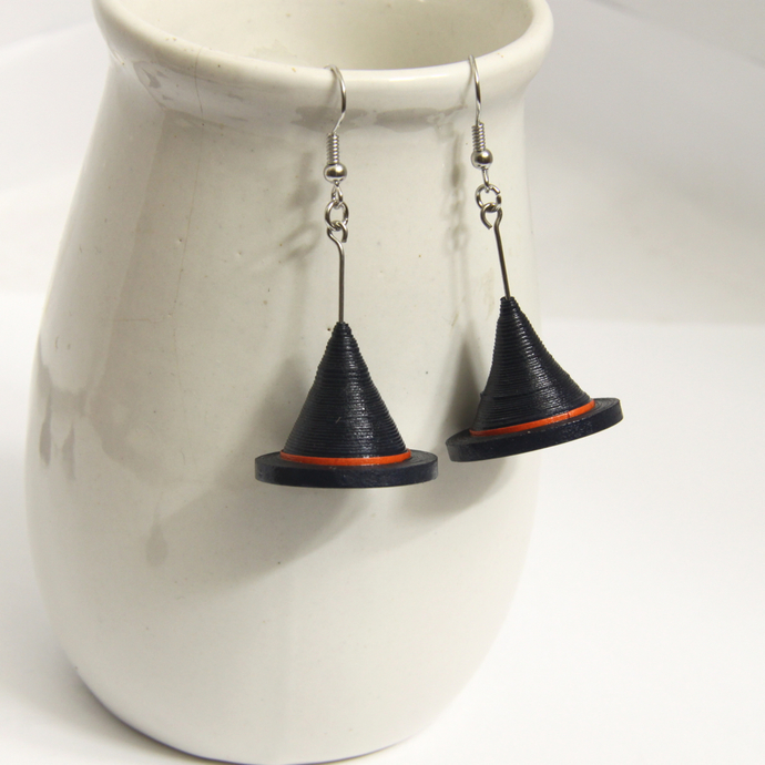 75% off! Halloween Witch Hat Earrings - Paper Quilling Eco Friendly Jewelry