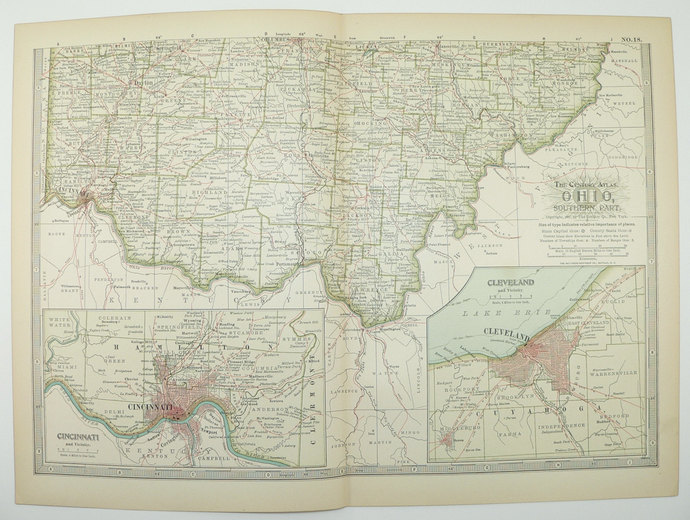 1899 Antique Map of Southern Ohio | Old Maps and Prints