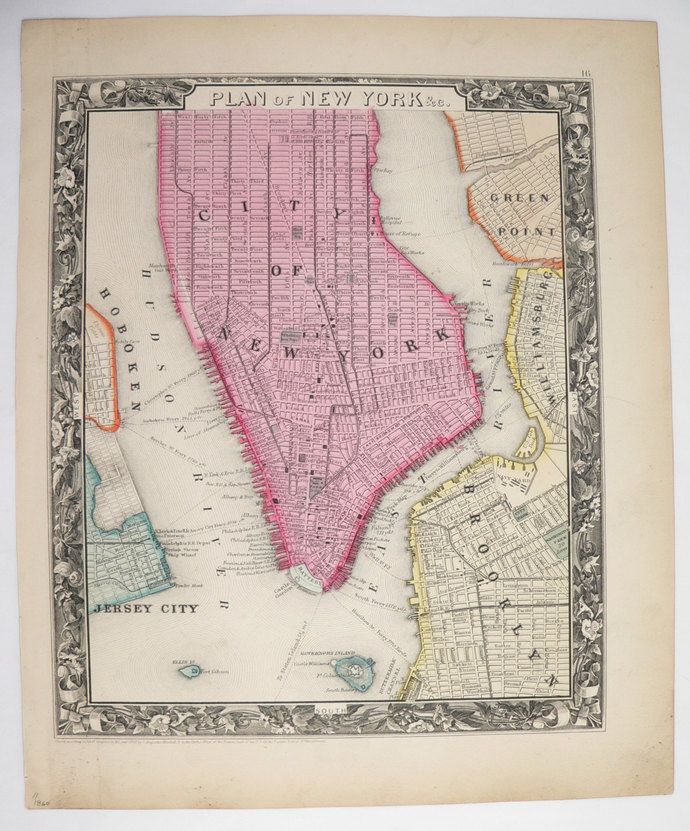 New York City Antique Mitchell Old Maps And Prints - Antique maps nyc