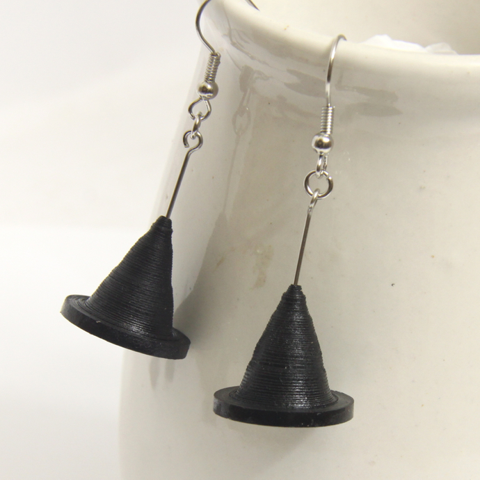 Save 75% Halloween Black Witch Hat Earrings - Paper Quilling Eco Friendly