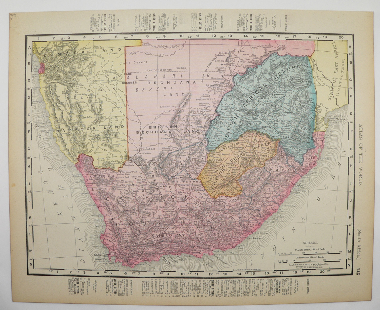 South Africa Antique 1900 Map Cape Old Maps and Prints
