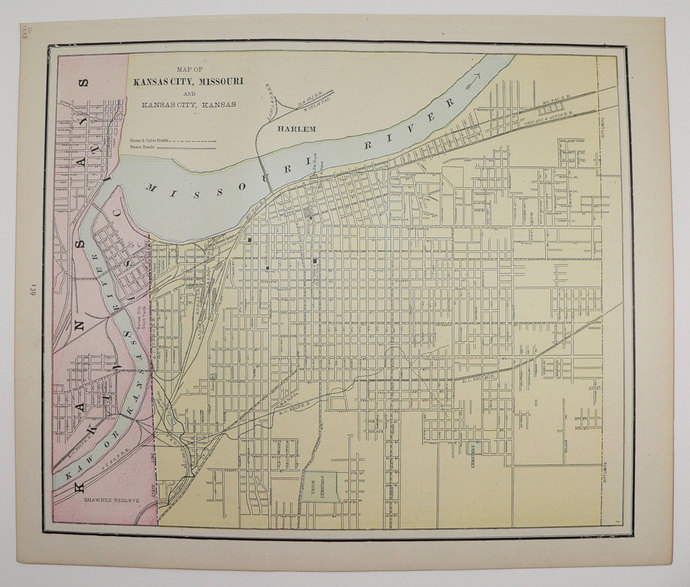 1888 Antique City Street Map of Kansas | Old Maps and Prints