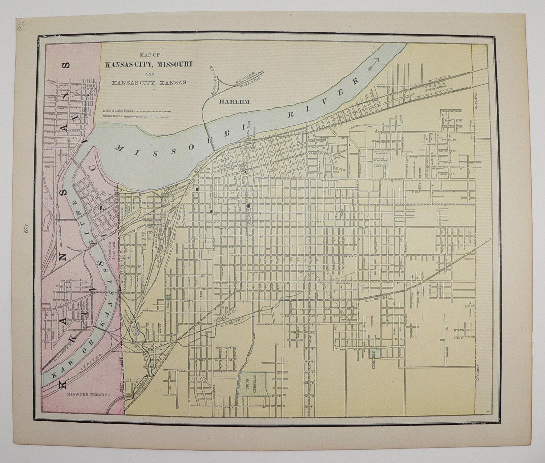 Alton Kansas Map.1888 Antique City Street Map Of Kansas Old Maps And Prints