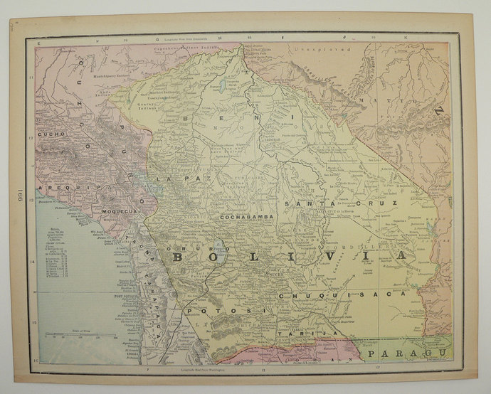 Map Of America 1900.1900 Antique Map Of Bolivia South America