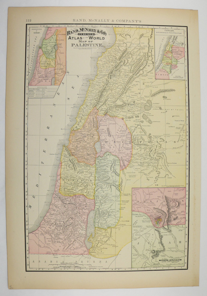 Palestine Antique Map Judae Old Maps And Prints - The old map company