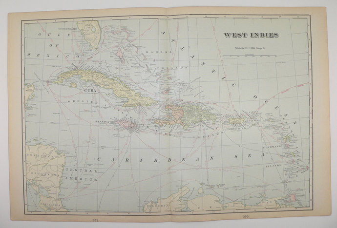 Map Of Florida Cuba And Puerto Rico.West Indies 1902 Antique Map Cuba Old Maps And Prints