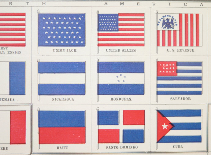 Flags Of The World Antique Color Print