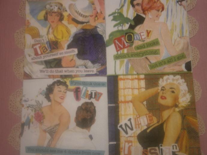 Retro 50s housewife napkins 4pcs