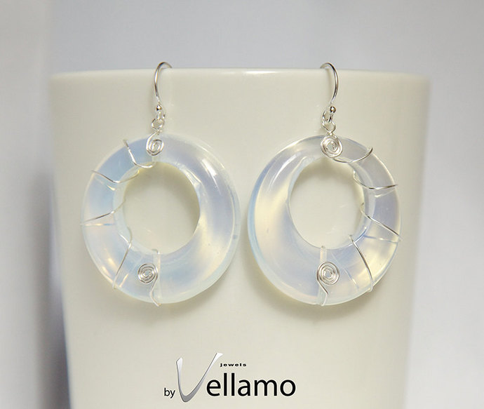 Ear-rings with round circle shaped rainbow shiny opalite stones, spiral silver