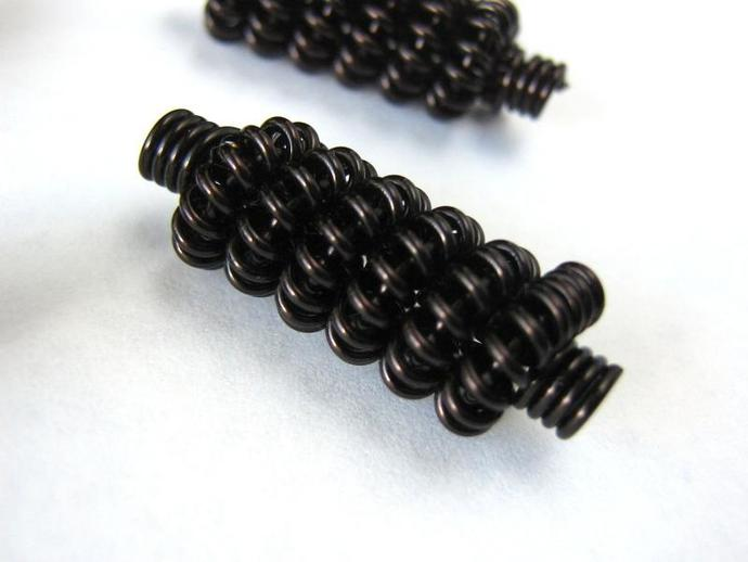 Coiled wire beads handmade black